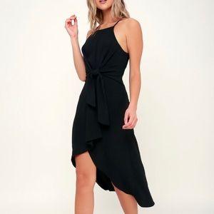 Lulu's Kiernan Black Tie-Front High-Low Midi Dress